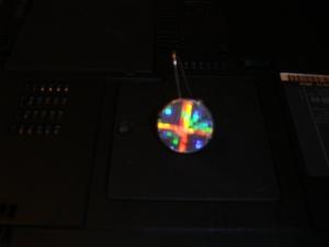 RAVARLAGARI etsy Zenon Girl of the 21st Century disk earring reproduction front bright camera flash off