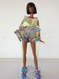 FredBulterStyle blogspot com Barbie Futurisitic Fashion Art For Selfridges holographic